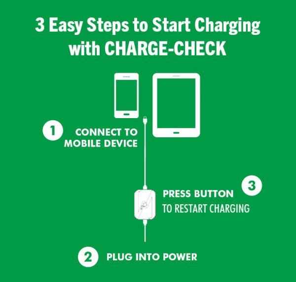 Info graphic showing how to connect Charge-Check to mobile device